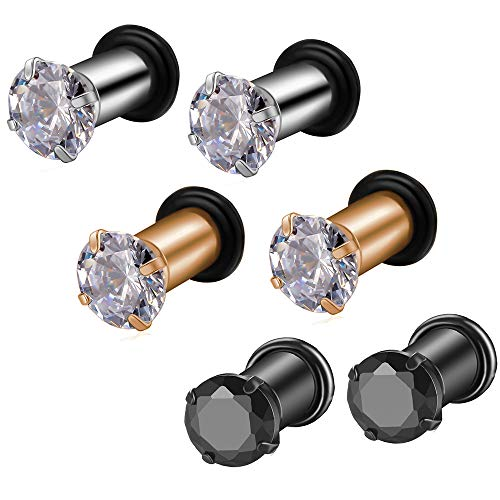 3Pairs Lightweight Ear Gauges Plugs Tunnels8G/3mm 316L Stainless Steel Prong Setting Clear/Black CZ Ear Stretcher Expander Plugs with Rubber O-Rings (D01:3Pairs(8G=3mm))