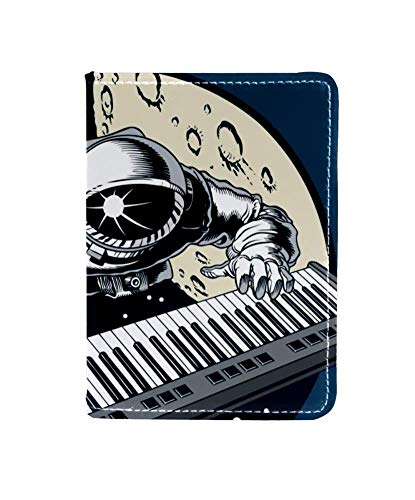 Astronaut Piano Space Niedliche personalisierte Reisepasshülle des Lederpassinhabers Brieftaschenetui für Frauen und Männer. 10x14cm