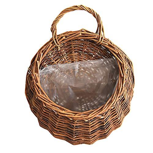 DIYARTS - Cesto per fiori in rattan naturale, realizzato a mano, in rattan, intrecciato, ideale per decorare la casa e il giardino