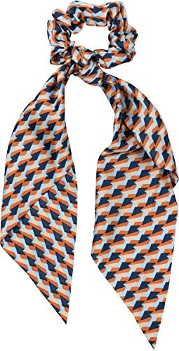 styleBREAKER Dames haarband met retro patroon en strik, elastiek, scrunchie, vlecht, driehoekige sjaal, haarband 04027015, Farbe:Oranje-blauw-roest