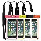 ivoler [Pack de 4] Pochette Étanche Téléphone [Certifiée IPX8] Etui/Housse/Coque Étanche Smartphones Universel Sac Protection pour iPhone, Samsung, Huawei, Jusqu'à 6,5'' (Nior+Vert+Rose+Orange)