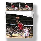 Zozun Juego de Funda nórdica Dywane Miami Basketball Player 3 Ropa de Cama Flash Wade Heat Super Star Score A Basket Hoop Edredón con 2 Fundas de Almohada Cleveland Chicago Cavaliers Bulls