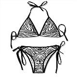 Bikini para Mujer, Hamaca en la terraza Arquitectura Blanca Isla de Santorini Grecia Vista idílica al mar, Traje de baño de Dos Piezas