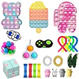Yoskog Fidget Toy Pack, Pop Bubble Cheap Sensory Fidget Toy Set Stress Relief Toys with Marble Mesh Pop Anxiety Tube for Kids Adult (Fidget Toy-7)