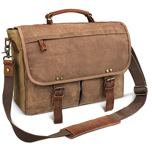 emissary Laptop Messenger Bag for Men 15.6'' Computer Bag Canvas and Leather Shoulder Briefcase Brown 15.6'' Laptop Bag