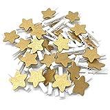 Wedding Touches 30mm Mini Pinces à Linge Blanc avec 18mm doré étoiles Craft Style Shabby Chic pour Mariage et de Noël, Bois Dense, doré, 30mm