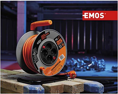 Enrollador EMOS con interruptor - Cable de 50 m con 4 tomas Schuko - 1,5 mm - Clase de protección IP20