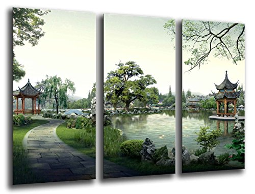 Cuadro Camara Fotográfico Paisaje Lago Pagoda, China Tamaño total: 97 x 62 cm XXL, Multicolor