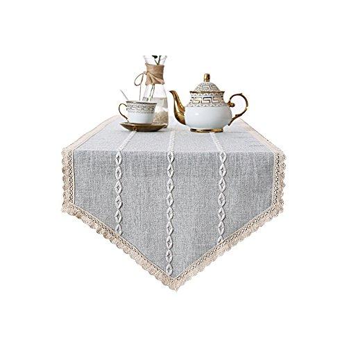 Pince Yue épaissir Coton et lin à rayures chemin de table meuble TV Buffet Table de nuit Drap housse, 40 x 160 cm, Tissu, 40x180cm