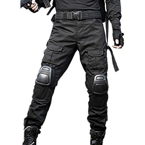 haoYK Pantaloni tattici di Paintball BDU Militare Pantaloni Airsoft Pantaloni da lavoro multiplo con ginocchiera (M (32'), Nero)