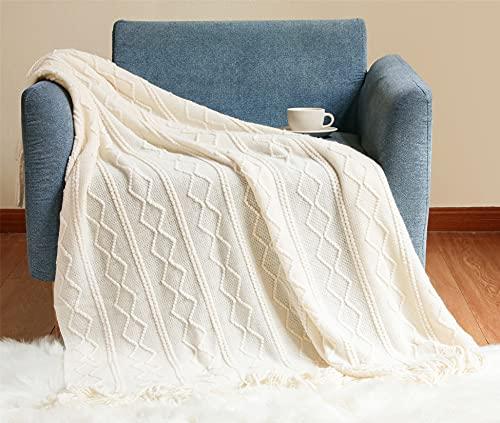 Hayisugal Wohndecke Boho Decke Weich Strick Wolldecke mit Quaste Kuscheldecke Sofadecke Couch Decke Überwurfdecke, Beige, 130 x 150cm