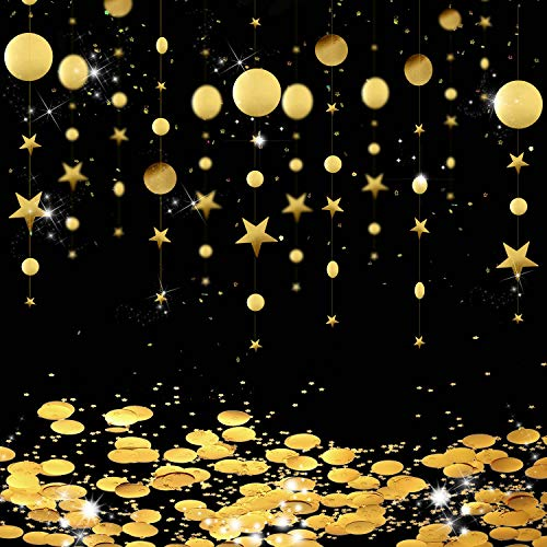 Circle Dot Garland Streamer Kit Twinkle Star Hanging Bunting Glitter Reflective Banner Backdrop with Round and Star Tissue Paper Party Table Confetti for Engagement Wedding Baby Shower (Gold)