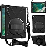 ZenRich iPad 5th/6th Generation Case, iPad 9.7 Case 2017/2018 with Rotatable Kickstand,Hand Strap and Shoulder Strap zenrich Heavy Duty Shockproof Case for A1822/A1823/A1893/A1954,Black