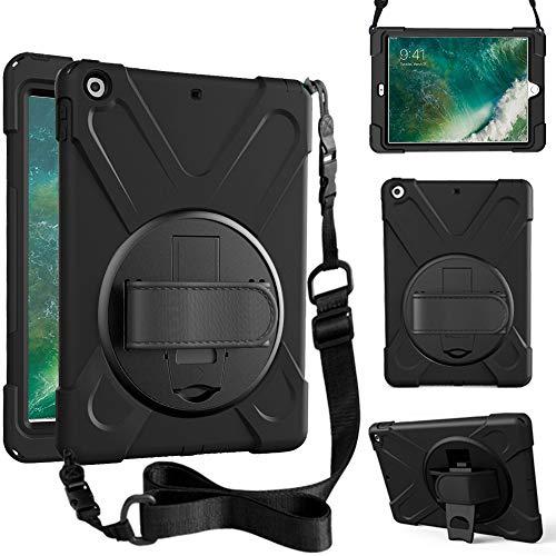 Neues iPad 9,7 2017 2018 Hülle, 360 Grad drehbar mit kickstand, Handgurt & SchulterGurt Gehäuse, 3-Schicht-Hybrid-SchwerLast-Schock-Gehäuse für iPad 9,7 5./6. GeneRation (schwarz)