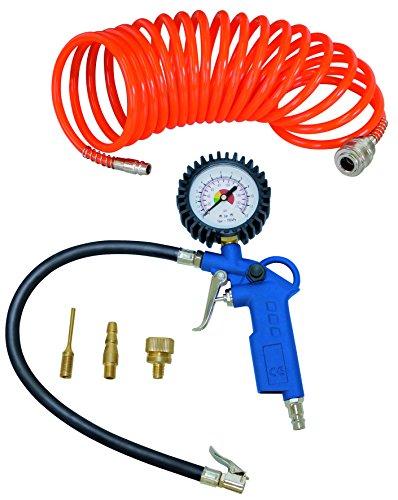 Scheppach persluchtset 5-delig (compressorset, bandenvulmeter, luchtafvoerventiel, 5 m spiraalslang, 3 opzetsproeiers)