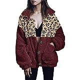 ROVNKD - Jersey para adolescentes y niñas, abrigo de invierno para mujer, talla grande, chaqueta cálida de leopardo, con bolsillos de felpa Vino XXL