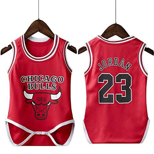 lkjhgfd Body De Mameluco para Bebés De Los Chicago Bulls 23# Michael Jordan Camisetas De Baloncesto Sueltas Sin Mangas para Niños Niñas De 6 A 30 Meses,Red-9(65-75cm)