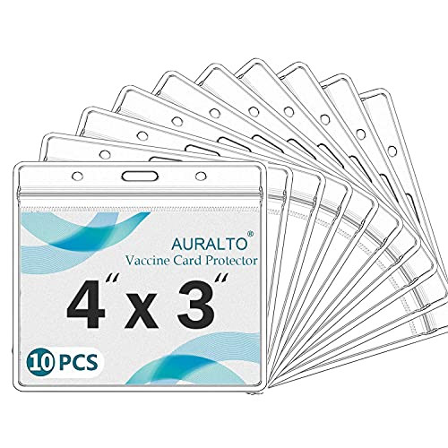 10 Pack - Clear Plastic Vaccination Card Protector 4×3 in for CDC Immunization Badge, Waterproof 3x4 Horizontal Badge I'D Name Tag Holder Sleeve w 3 Lanyard Slots for Events & Travel