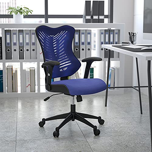 Flash Furniture High Back Designer Blue Mesh Executive Swivel Ergonomic Office Chair with Adjustable Arms