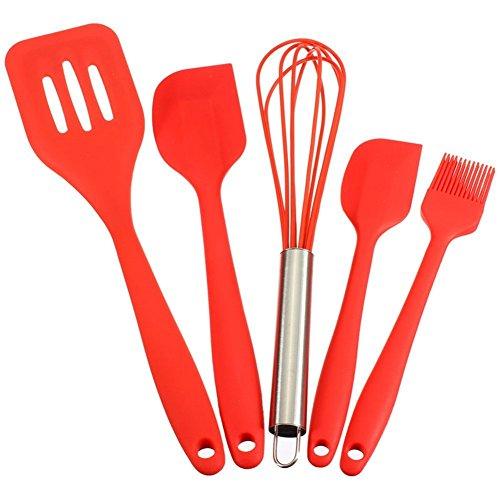 valink 5pc–juego de cocina de silicona espátula, pincel, batidor de varillas y espátula de cocina, resistente al calor Utensilios de cocina cocinar hornear herramientas–rojo
