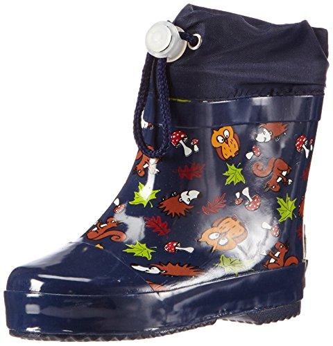 Playshoes Kinder Halbschaft-Gummistiefel, gefütterter Unisex Regenstiefel,Blau,23 EU