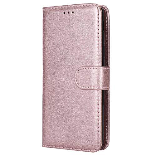 Bear Village® Hülle für Samsung Galaxy J6 2018, Flip Leder Handyhülle Tasche mit Kartensfach, TPU Innere Ledertasche, 360 Grad Voll Schutz, Rose Gold