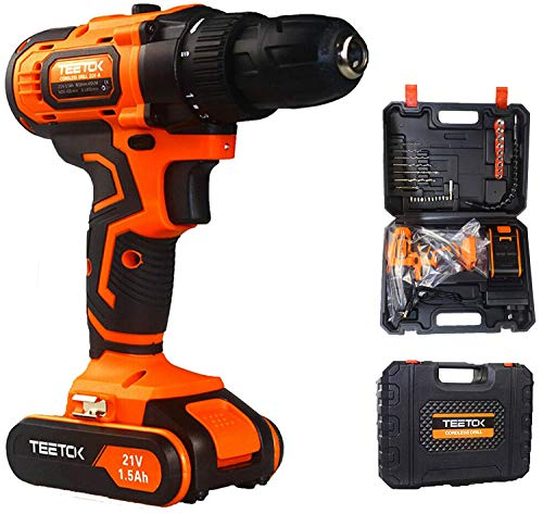 21V Cordless Impact Drill with 1.5Ah Li-Ion Batteries, 2 Speed Hammer Drill Screwdriver 17 Torque with 29pcs Accessories and Compact Case
