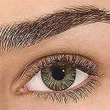 Sehr stark deckende natürliche Kontaktlinsen farbig,farbige Monatslinsen aus Silikon Hydrogel(HEMA),Weiche Kontaktlinsen mit großen Augenfarben Vergrößern Sie,1 Paar(2 Stück),DIA14.00,ohne Stärke,GRÜN