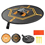 HUAPX Small Drone Landing Pads,80cm Universal Foldable Launch Pad with Reflective Strips and Nails Compatible for All DJI Drones Spark Mavic Pro Phantom 2/3/4 Pro Inspire 2/1 3DR Solo (31.5'/80CM)