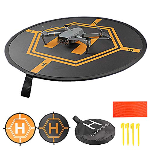 HUAPX 31.5'/80cm Drone Landing Pad,Universal Foldable Launch Pad with Reflective Strips and Nails Compatible for DJI Drones Spark Mavic Mini2/Pro Phantom 2/3/4 Pro Inspire 2/1 3DR Solo (31.5'/80CM)