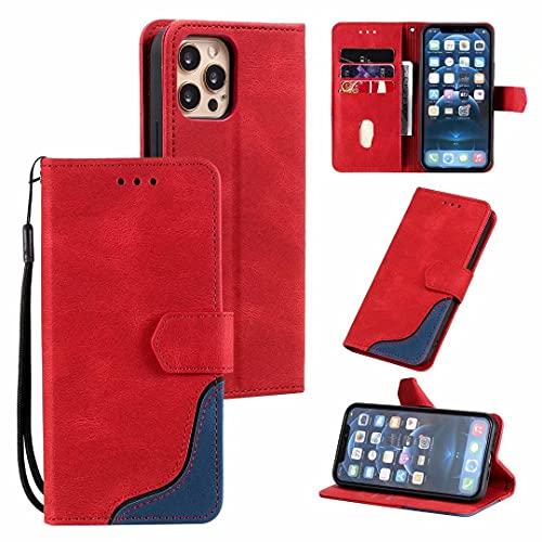 Funda para iPhone 11 Pro, para iPhone 11 Pro, funda a prueba de golpes, funda de piel sintética, función atril, cierre magnético, ranura para tarjetas, funda protectora para iPhone 11 Pro, color rojo