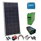 Kit Solar PlusEnergy 12V 300W/hora Especial Autocaravanas/Regulador 40a + Inversor 1.000W + Batería 250Ah