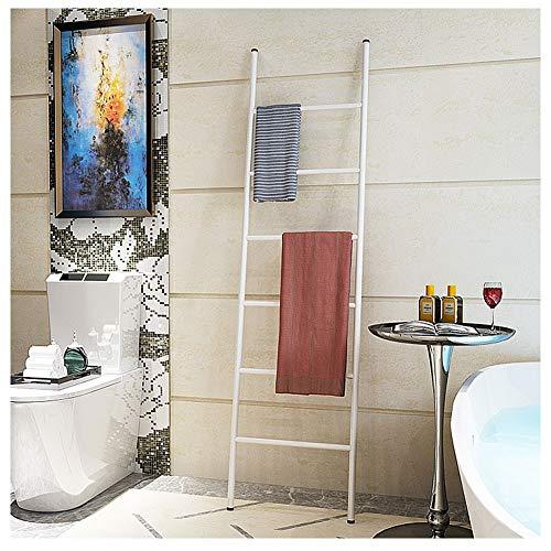 Ladder Deken Houder Wit Vrijstaande Handdoek Rack met 6 Rungs Metalen Leuning Ladder voor het opslaan van Handdoeken, Air Dry Clothes, Display Magazines