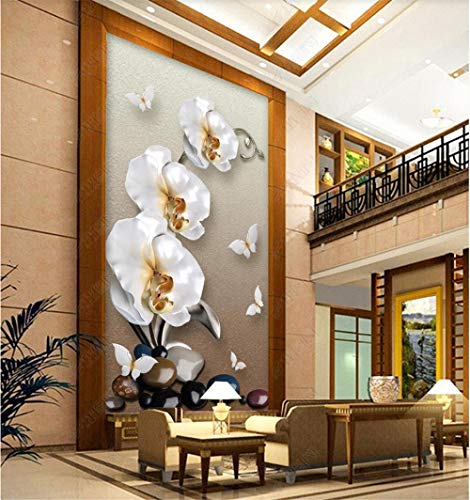 YANCONG Türposter Selbstklebend Weiße Orchidee Und Schmetterling 3D Fototapete Türfolie Poster Tapete Türtapete Selbstklebend Türposter 88X200Cm