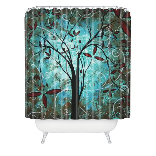 blue arty tree shower curtain
