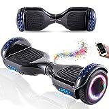 Wind Way Hoverboard 6.5 Pouces avec Bluetooth et Lumière Skateboard Électrique Moteur 700W Batterie 36V Gyropode Auto Équilibré Pas Cher avec Sac et Télécommande pour Enfant et Adulte - Noir Chromé