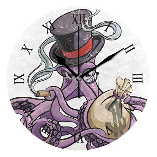Ahomy Octopus - Reloj de Pared con número de cigarro Fumador, 24 cm, Redondo, silencioso, Funciona con Pilas, fácil de Leer, para casa, Oficina, Escuela