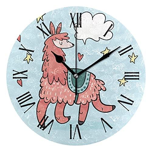 Reloj de pared lindo Alpaca Happy Running Star Heart Blue Round Acrylic Clock Negro Números grandes silenciosos sin cosquillas, pintura decorativa funciona con pilas para e-School Hotel Libr