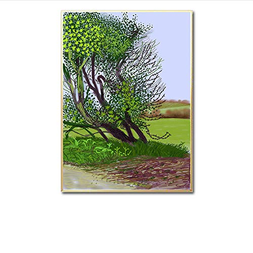 David Hockney The Arrival of Spring In Woldgate East Canvas Pintura David Hockney Poster Prints Living Room Wall Abstract Pop Art 50x70cm / Unframed-7 Art