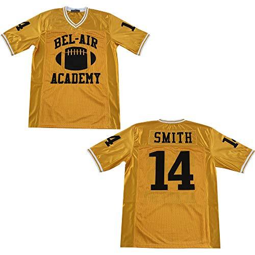 Rainbow Hawk Mens Smith #14 Bel Air Academy Yellow Football Jersey (Yellow, XXL)
