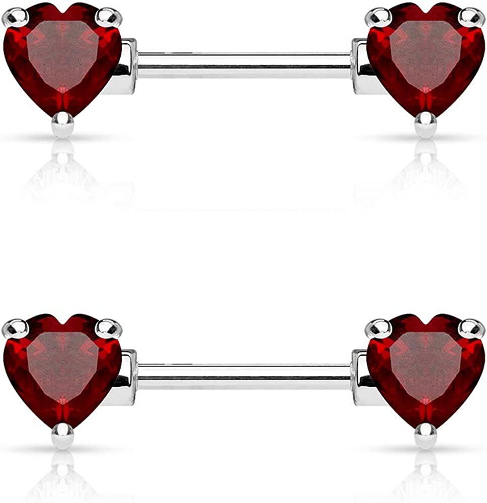 Dynamique 14G Pair of Double Front CZ Set Special price for a limited time Prong Popular brand in the world 316 Facing Heart