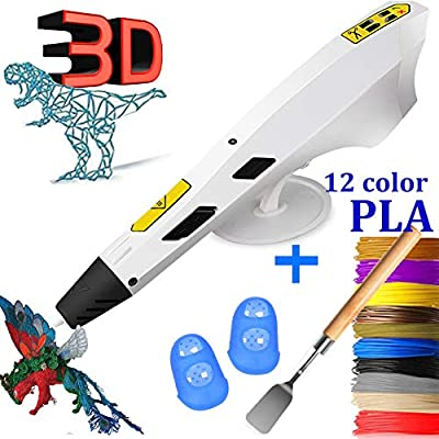 3D Printing Pen Newest Version Intelligent 3D Drawing Pens Arts Crafts DIY with 12 Colors PLA Filaments Refills for Kids Toys and Adults-White