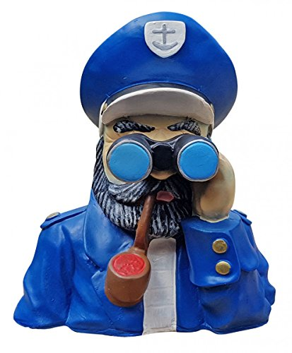 Fachhandel Plus Deko-Figur Kapitän mit Fernglas Maritime Gartenfigur Spanner für Innen und Außen