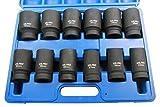 US PRO B1360 - Juego de llaves de vaso de impacto (12 unidades, 3/4' Dr métricas, Cr-V, 6 puntos,...