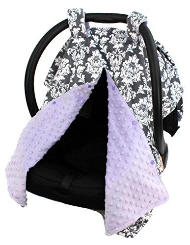 Dear Baby Gear Deluxe Car Seat Canopy Custom Minky Print Grey and White Damask, Lavender Minky Dot