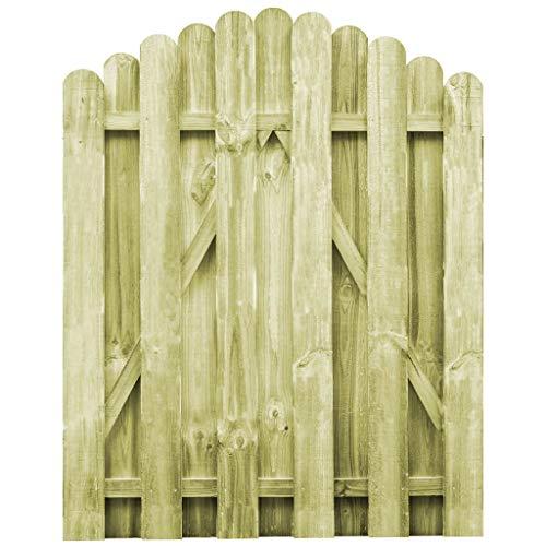 Benkeg Puerta De Jardín Madera De Pino Impregnada 100 x 125 cm, Puerta De Valla De Jardín Puerta De Valla De Entrada Puerta De Patio, Respetuoso con El Medio Ambiente, Diseño arqueado