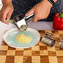 PPuujia Râpe à fromage en acier inoxydable avec manivelle et lames rotatives pour légumes (couleur : A)
