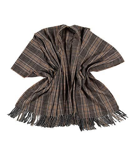 SIX Modischer Poncho im Karo-Design mit Fransen. warm, ideal für Herbst und Winter, für Frauen (135-464)