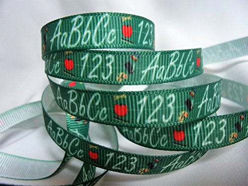Grosgrain Ribbon 3/8' Wide - ABC & 123 Back to School Print - 10 Yards, for Hair Bows, Decorating & Back to School Crafts!