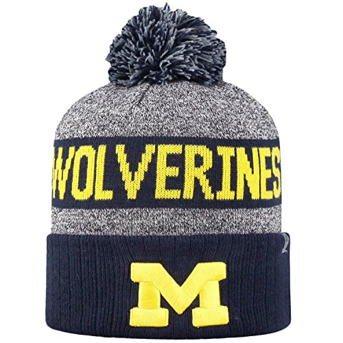 Top of the World NCAA Arctic Striped Cuffed Knit Pom Beanie Hat-Michigan Wolverines